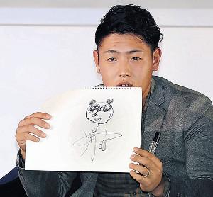 トークショーの似顔絵対決でパンダを描いた岡本