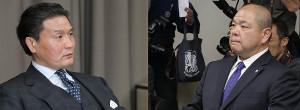 理事会に臨んだ貴乃花親方(左)と八角理事長