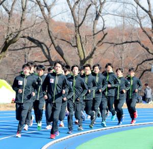 箱根駅伝に向けて練習する国士舘大陸上競技部の選手たち