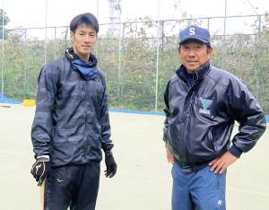 恩師・土屋恵三郎監督(右)と若林