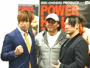 「POWER HALL2018」に出場する(左から)飯伏幸太、長州力、丸藤正道