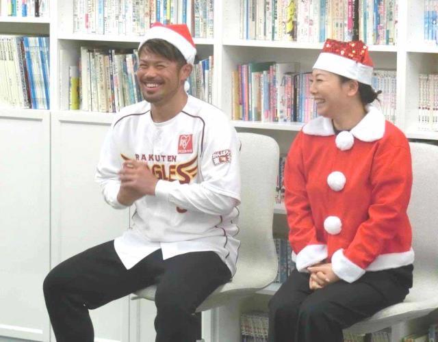 児童養護施設で約50人の子供たちに話をする今江(左)と幸子夫人