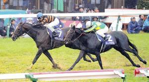 キタサンブラックは出遅れ、不良馬場をものともせず、最後は先頭でゴールを駆け抜けた(右はサトノクラウン)