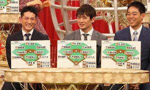 番組収録に参加した(左から)巨人・小林、ロッテ・涌井、西武・秋山