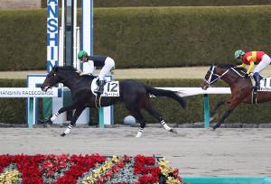 川田騎乗のグレートシール(左)が直線ジワジワと脚を伸ばす。2着はスキップガール