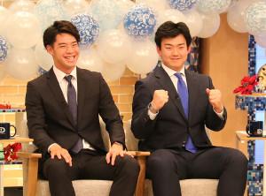 東海テレビの中日応援番組に出演した鈴木翔(左)と小笠原