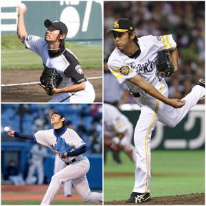 江尻さんの現役時代の勇姿(左上は日本ハム時代の2007年、左下は横浜時代の10年、右はソフトバンク時代の13年)