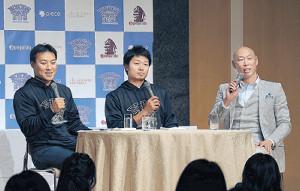ファンミーティングで笑顔を見せる(左から)田中賢、中島、森本稀哲氏