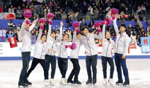 フィギュアスケート平昌冬季五輪代表に選ばれ笑顔でポーズを決める選手たち(カメラ・酒井 悠一)