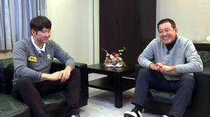 テレビで初対談した巨人・菅野と前監督原辰徳さん(C)BSジャパン