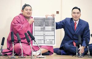 新入幕の阿炎(左)は錣山親方と番付表を手に笑顔を見せる