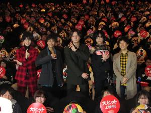 舞台あいさつした(左から)西銘駿、佐野岳、渡部秀、三浦涼介