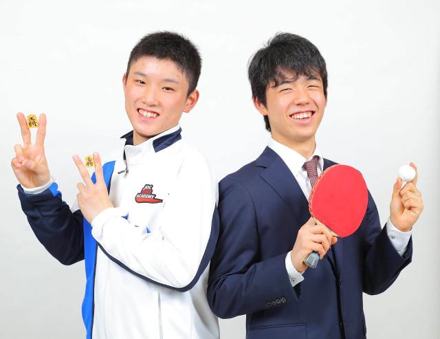 対談し互いに刺激しあった藤井聡太四段(右)と張本智和