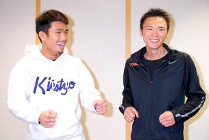 WBO世界フライ級タイトルマッチに臨む王者・木村(左)と挑戦者・五十嵐