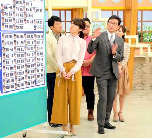 テレビの情報番組に生出演した栗山監督(右)