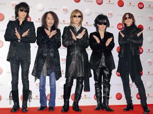 リハーサルに登場した「X JAPAN」の(左から)HEATH、PATA、YOSHIKI、ToshI、SUGIZO