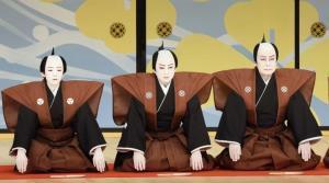 襲名披露口上を行った(左から)市川染五郎、松本幸四郎、松本白鸚