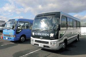 羽生の寄付金で購入した2台の送迎バス
