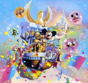 TDL35周年パレード「ドリーミング・アップ!」のイメージイラスト。ペガサスのフロートと35周年コスチュームが特徴だ((C)Disney)