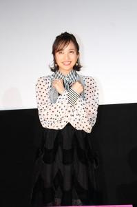 日本語版声優を務めた映画「ブラックパンサー」の試写会で舞台あいさつに出席した百田夏菜子