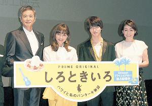 舞台あいさつした(左から)時任三郎、川口春奈、横浜流星、財前直見