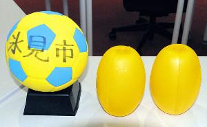 使用するボール(左)とGK用の浮き