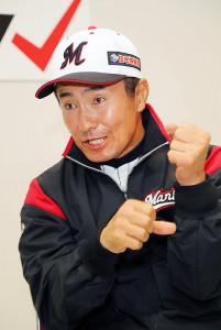 打撃のコツをボクシングや相撲にたとえて選手に説明するという金森コーチ