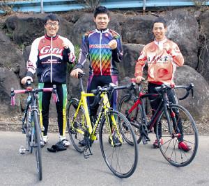 自転車競技の全国大会に出場する星陵トリオの(左から)阿部、長田、渡辺
