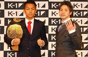 K−1スーパー・バンタム級王者・武居由樹(左)と挑戦者・久保賢司(C)M―1 Sports Med