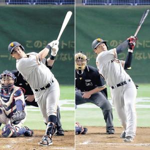 9回に3ランを放った岡本(左)と4回にソロ本塁打を放ったゲレーロ