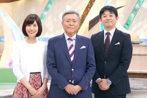 リニューアルされた「とくダネ!」の(左から)山崎夕貴アナ、小倉智昭キャスター、伊藤利尋アナ