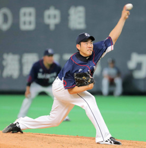 7回2失点の好投で今季初勝利を挙げた菊池(カメラ・堺 恒志)