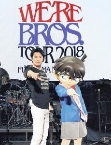 """広島市内でライブを行った福山雅治。3月のラジオ放送以来、1か月半ぶりにコナンと""""再会""""した"""