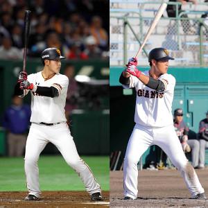岡本の構え。左が2018年4月11日、右が2017年11月11日