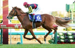 引退レースの13年有馬記念を圧勝したオルフェーヴル。産駒の気性は意外に素直だそう