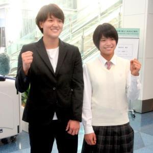 グランプリ・フフホト大会に出発した新井千鶴(左)、阿部詩