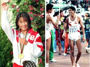 表彰式で金メダルとともにスマイルを見せた岩崎恭子さん(左)と、ゴール直後に中山竹通さん(左)と健闘をたたえ合う谷口浩美さん