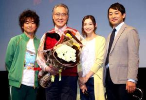 制作発表に出席した(左から)山崎樹範、佐野史郎、足立梨花、迫田孝也