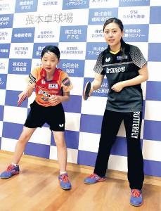 張本美和(左)と孫雪コーチ
