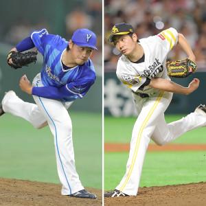 DeNA・石田(左)とソフトバンク・武田