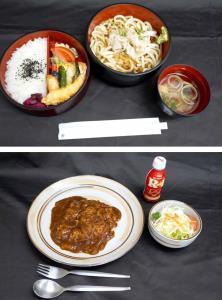 藤井七段が昼食に選んだうどん(上)と、夕食のハヤシライス