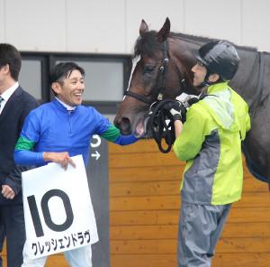 函館9Rを勝利したクレッシェンドラヴと四位騎手(左)