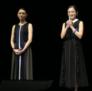 dTVオリジナルドラマ「婚外恋愛に似たもの」の試写会イベントに出席した栗山千明(左)、安達祐実