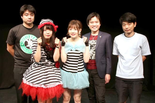 実話をもとにした舞台への意気込みを語った(左から)遠山雄氏、言葉乃アヤ、春野次なつ、河西邦剛弁護士、安本文哉氏
