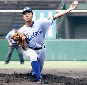 6回1安打無失点と好投した小松大谷の2年生左腕・山根