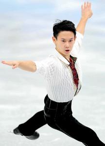 ソチ五輪フィギュアスケート男子シングルで3位に入ったデニス・テンさんの演技