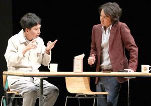 舞台稽古を行った藤原竜也(右)と椎名桔平