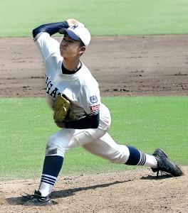 長田・橋本達は報徳学園打線を9回3安打1失点に抑える好投を見せる(カメラ・森下 知玲)