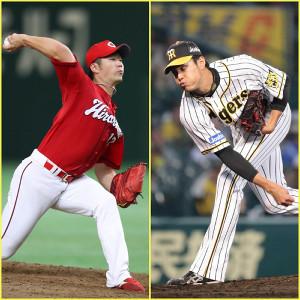 先発の阪神・藤浪(右)と広島・岡田