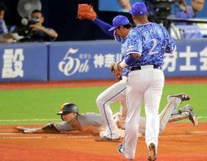 6回無死、一塁内野安打を放った吉川尚だが、ヘッドスライディングで負傷し、途中交代となった